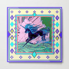 Blue Mythical Unicorn in Meadow Abstract Metal Print
