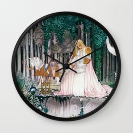 Kay Nielsen - Prince Who Notices Lassi On The Tree Trying To Drink Water In The Fountain Wall Clock