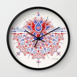 Sacred Lotus Mandala – Red & Blue Palette Wall Clock