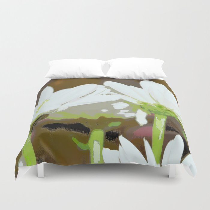 Flower | Flowers | White Summer Daisies | Floral Hippie Art | Duvet Cover