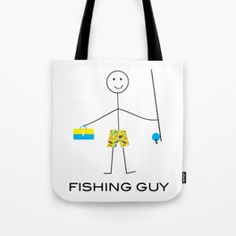 Funny Mens Fishing Guy Tote Bag