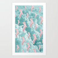 Flying Cats Art Print