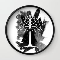 gondor Wall Clocks featuring White Tree Of Gondor by Icarusdie