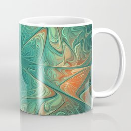 Frozen Flowers I Abstract orange flower, ice mint green water, cute floral pattern Coffee Mug