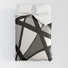 Geometric Line Abstract - Black Gray White Comforters
