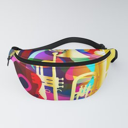 Colorful music instruments with guitar, trumpet, musical notes, bass clef and abstract decor Fanny Pack
