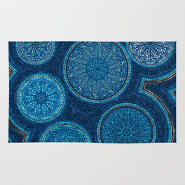 Dot Art Circles Abstract Blue with gold accent Rug