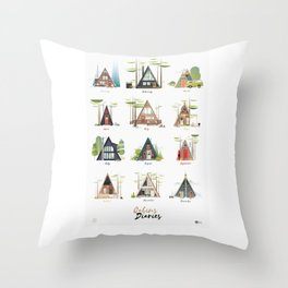 Cabins Diaries Throw Pillow