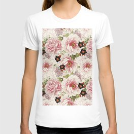 Small Vintage Peony and Ipomea Pattern - Smelling Dreams T-shirt