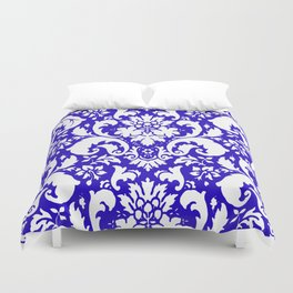 Paisley Damask Blue and White Duvet Cover
