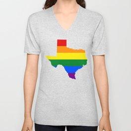 Texas Gay Pride Rainbow Flag LGBT Shirt Unisex V-Neck