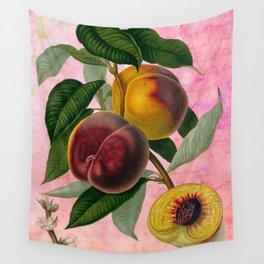 Vintage Botanical Collage, Bradford Peach Wall Tapestry
