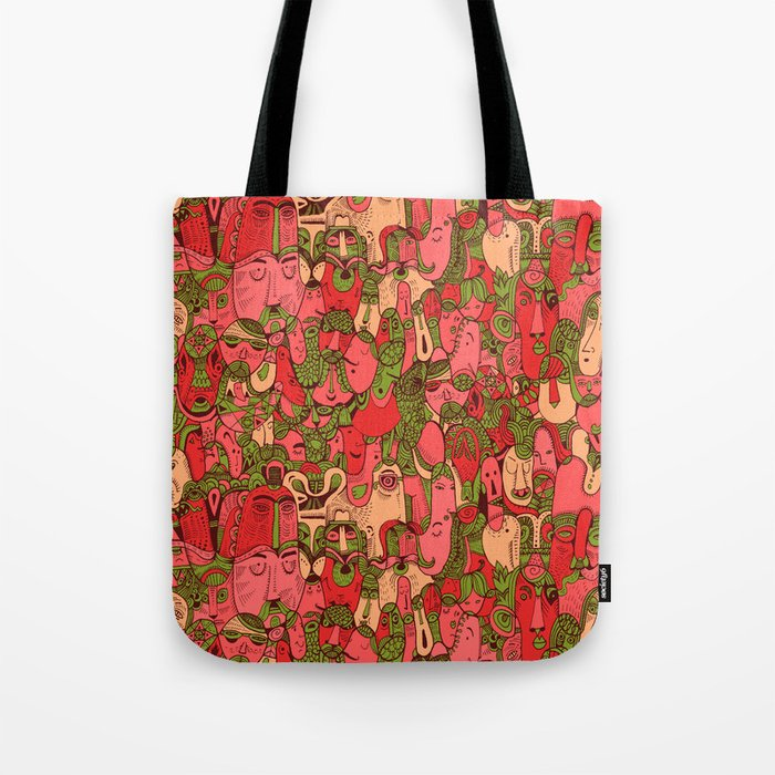 Faces Pattern Tote Bag