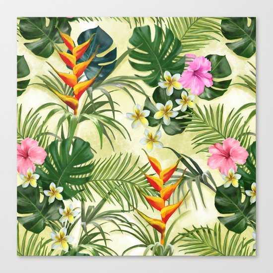 Tropical pattern with flowers Canvas Print