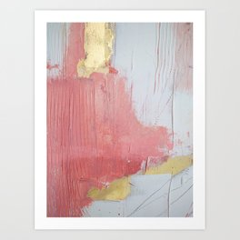 Melody: a pretty minimal abstract painting in gold pink and white by Alyssa Hamilton Art Art Print