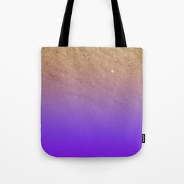 Elegant gold faux glitter chic purple gradient pattern Tote Bag