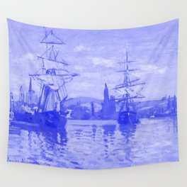 Ships Riding on the Seine at Rouen Japanese Porcelain Concept Wall Tapestry