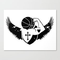 Faith Strength Heart Basketball Canvas Print