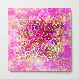 Fuchsia Watercolor Abstract Painting Boho Style Arabesque Metal Print