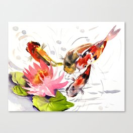 Koi Pond, feng shui koi fish art, design Canvas Print