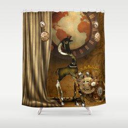 Cute steampunk giraffe with clocks and gears Shower Curtain