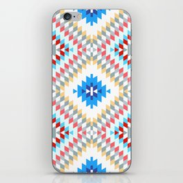 Colorful patchwork mosaic oriental kilim rug with traditional folk geometric ornament iPhone Skin