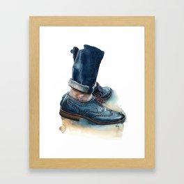Teal Brogues, Just A Men Shoe Framed Art Print