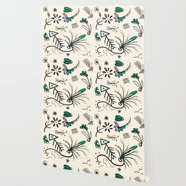 Soft white nature sketch whimsical Wallpaper