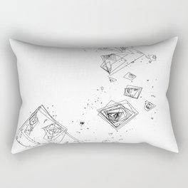 Mountain Vertices, Mt. Shasta, Black Geometric Rectangular Pillow