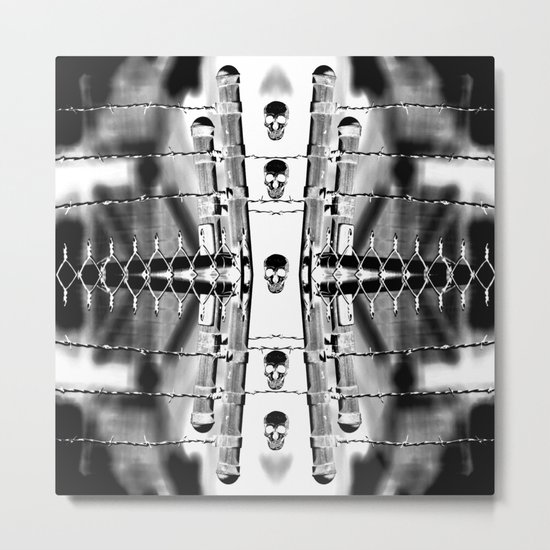 Skirting the Oblivion Fence in Black and White Metal Print