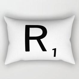 Letter R - Custom Scrabble Letter Tile Art - Scrabble R Initial Rectangular Pillow