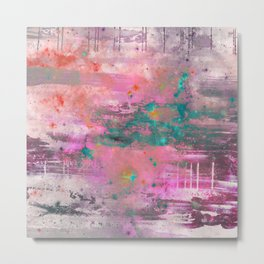 Mystical! - Abstract, pink, purple, red, blue, black and white painting Metal Print