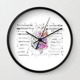 Left and right brain function Wall Clock