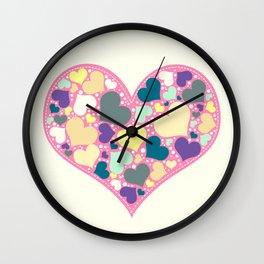 Hearts and Dots Wall Clock