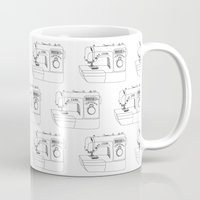 sewing Mugs featuring Sewing Machine by The Wellington Boot