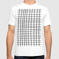 Handdrawn Grid White Mens Fitted Tee SMALL