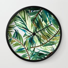 Leaf the jungle watercolor pattern Wall Clock