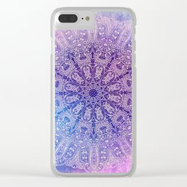 big paisley mandala in light purple Clear iPhone Case