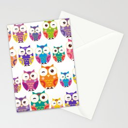 pattern - bright colorful owls on white background Stationery Cards