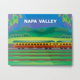 Napa Valley, California - Skyline Illustration by Loose Petals Metal Print