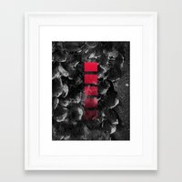 decal Framed Art Prints featuring black ocean by LEEMO