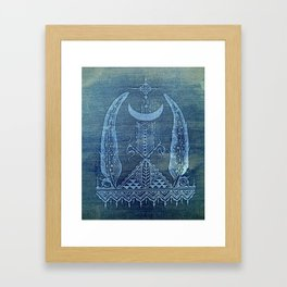 feathers in indigo crescent moon Framed Art Print