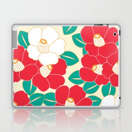 Japanese Style Camellia - Red and White Laptop & iPad Skin