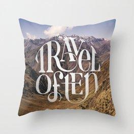 Travel to the Mountains Throw Pillow