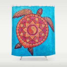 Sunset Seaturtle Yin Yang mandala Shower Curtain