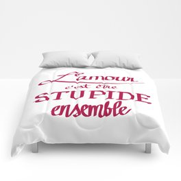 L'amour calligraphy Comforters