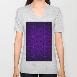Deep Indigo Purple Magenta Delicate Flowers Unisex V-Neck