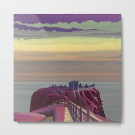 Dunnottar Castle in Pink Metal Print