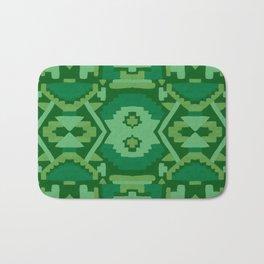 Geometric Aztec in Forest Green Bath Mat