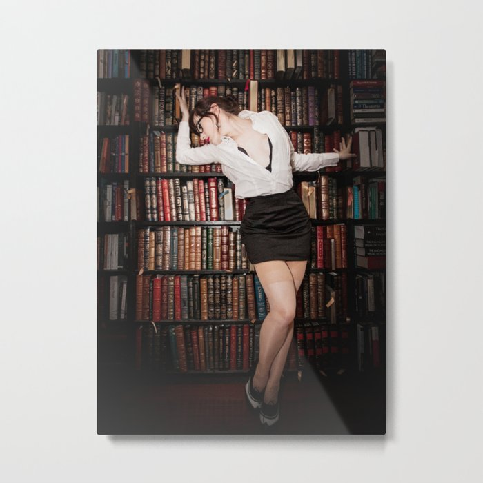 """Hot for Reading"" - The Playful Pinup - Sexy Librarian Pin-up Girl by Maxwell H. Johnson Metal Print"